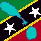 St Saint Kitts and Nevis Islands Flag with Map by Havocgirl