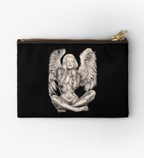 MARILYN : Vintage Abstract Tattooed Angel Print Studio Pouch