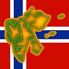 Flag of Norway with Map of Svalbard by Havocgirl