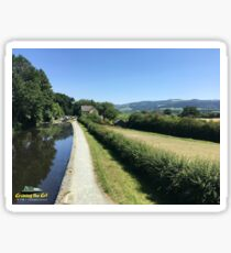 Hills and fields around the Montgomery canal in Wales Sticker