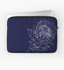King Protea - Line Drawing: Navy and White Laptop Sleeve