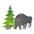 Elephants Christmas Inspired Silhouette by InspiredShadows