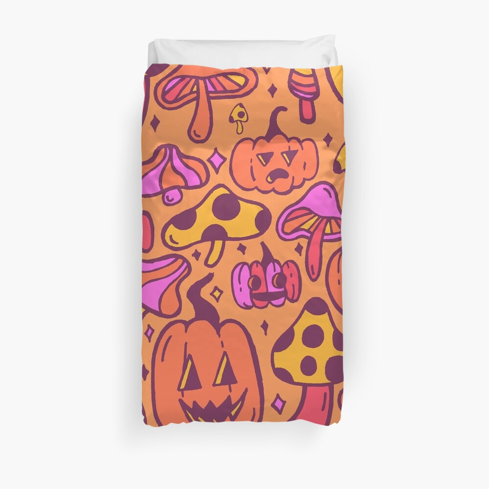 Mushrooms and Pumpkins Duvet Cover