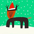 Holideer the Red-Nosed Reindeer with Santa Hat by Michael Pfleghaar