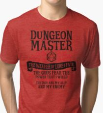 Dungeon Master, The Weaver of Lore & Fate - Dungeons & Dragons (Black Text) Tri-blend T-Shirt