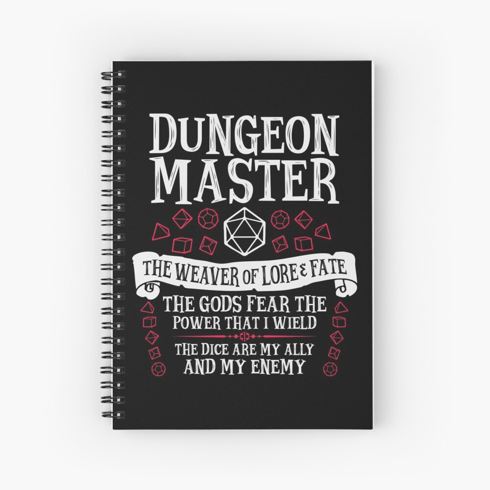Dungeon Master, The Weaver of Lore & Fate - Dungeons & Dragons (White Text) Spiral Notebook