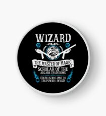 WIZARD, The Master of Magic - Dungeons & Dragons (White Text) Clock