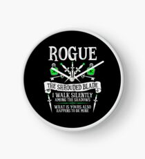 ROGUE, THE SHROUDED BLADE - Dungeons & Dragons (White Text) Clock