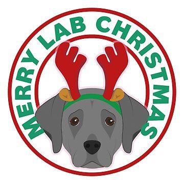 Merry Christmas Black Lab by CafePretzel