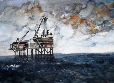 STORM OVER THE GAS RIG by ANNETTE HAGGER