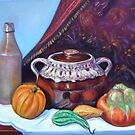 Bean pot, squash and bottle by Gayle Bell