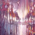 A BEAUTIFUL TRUTH - AN ABSTRACT WINTER LANDSCAPE WITH SWALLOWS by Gill Bustamante