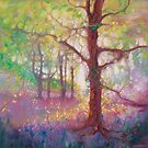 April in the Forest - a bluebell and wildflower woodland painting by Gill Bustamante