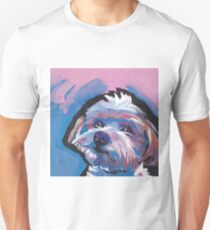 Morkie Maltese yorkie Dog Bright colorful pop dog art T-Shirt