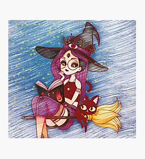 Teenage Witch and Her Spell Book  Photographic Print