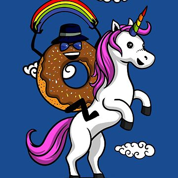 Donut Riding Unicorn Magical Rainbow by underheaven