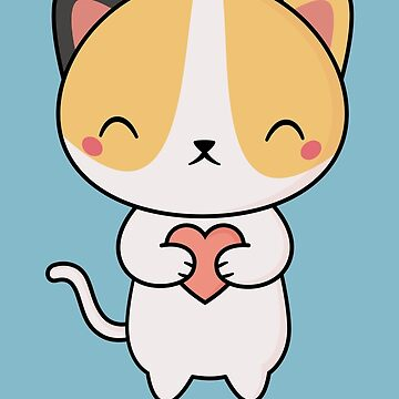 Kawaii Cute Cat With A Heart by happinessinatee