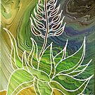 Agave Dreams Tree Ring Poured Painting by rachro