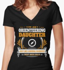 Orienteering Daughter Christmas Gift or Birthday Present Women's Fitted V-Neck T-Shirt