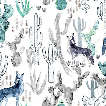 Coyote & Cacti  by nouveaubohemian