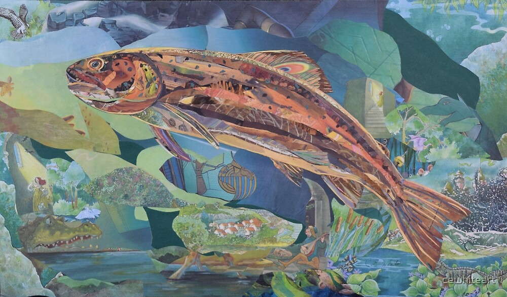 Brown Trout Art Collage by cewhiteart