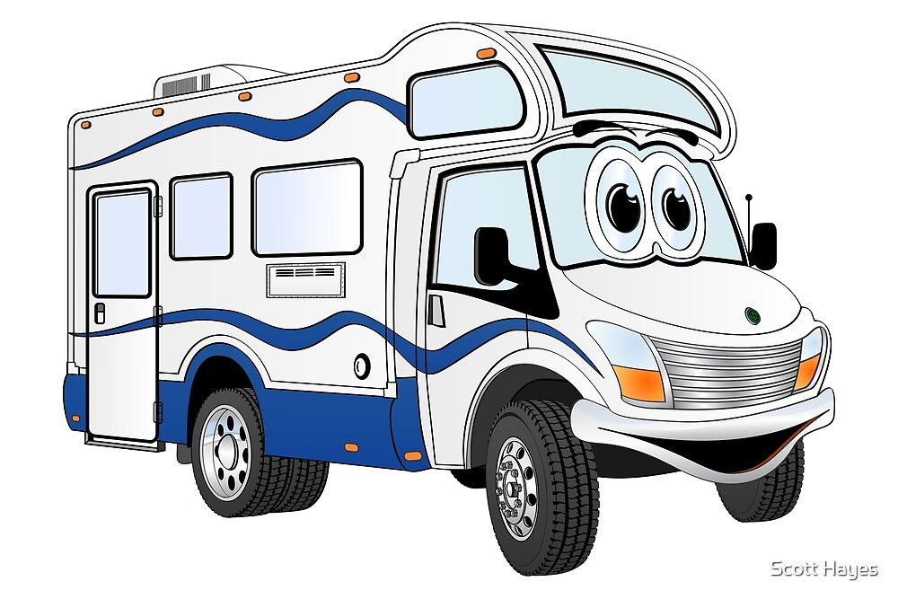 Blue Camper Cartoon by Graphxpro