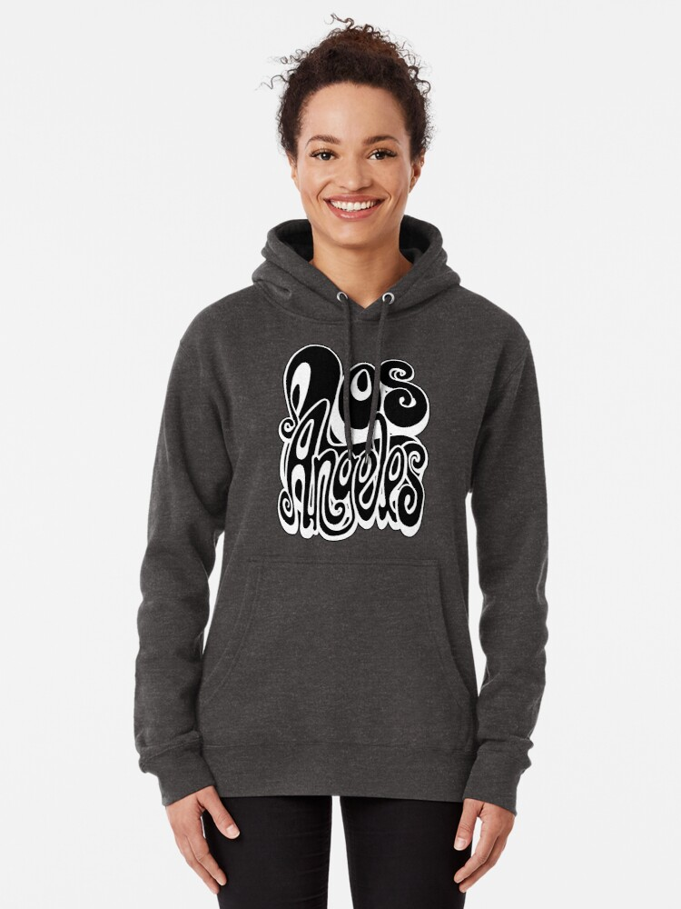 Alternate view of Los Angeles lettering art - black and white Pullover Hoodie