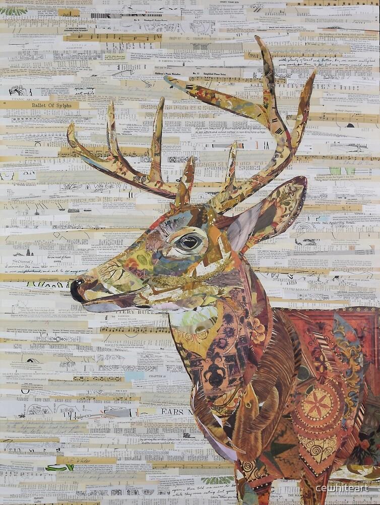 Deer Collage by cewhiteart