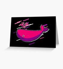 Blue comic Eighties Retro Violet and Purple Greeting Card