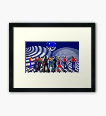 The Hippy(girls with big hips), Hippie Chick(girls who were hippies), at a Bellbottom, Discoball, Retro, Ex-Krishna Member Dance! Framed Print