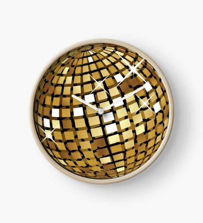 Goldene Discokugelabstraktion Uhr