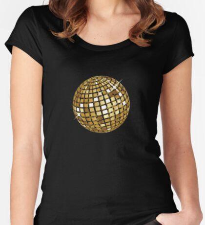 Goldene Discokugelabstraktion Tailliertes Rundhals-Shirt