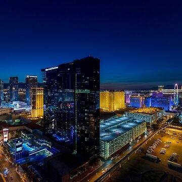 Elevated view of The Strip, Las Vegas, Nevada, USA. Hilton Grand Vacations Hotel and Casino in the centre. Night photography. by PhotoStock-Isra