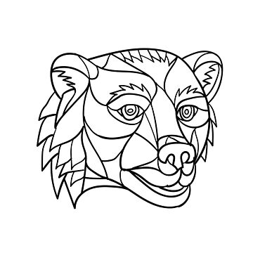 Grizzly Bear Head Mosaic Black and White by patrimonio