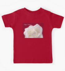 Winter White Rose On Red Happy Holidays Kids Tee