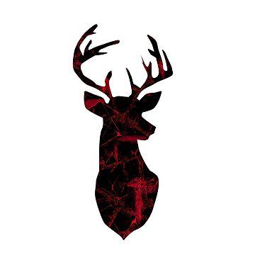 Deer head on white. by marinaklykva