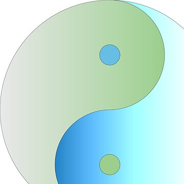 Yin Yang in Blue and Green Ocean Colors by Swigalicious
