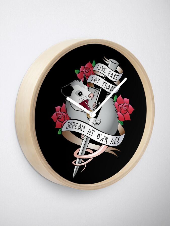 Alternate view of Opossum tattoo: Live fast, eat trash, scream at own ass. Clock