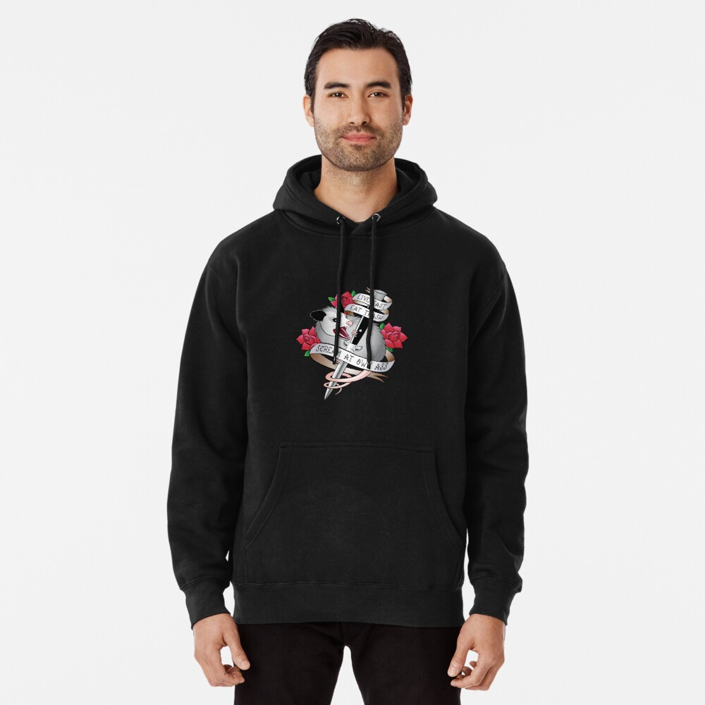 Opossum tattoo: Live fast, eat trash, scream at own ass. Pullover Hoodie