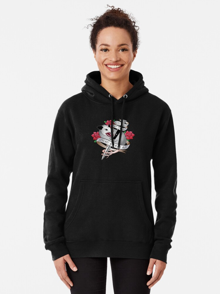 Alternate view of Opossum tattoo: Live fast, eat trash, scream at own ass. Pullover Hoodie