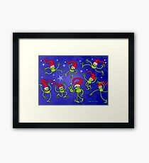 Merry Christmas Frogs jumping, dancing and celebrating! Framed Print