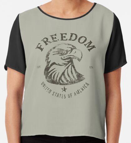 American Freedom Bald Eagle Dark Chiffon Top