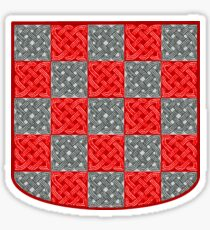 Stylized Croatian sahovnica crest with pleter patterns Sticker