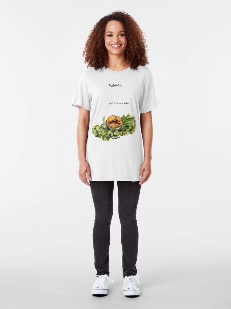 Alternate view of La Cuisine Fusion series - Pastel de Nata Salad Slim Fit T-Shirt