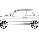 Citroen LN Classic Car Outline Artwork by RJWautographics