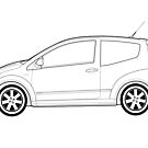 Citroen C2 VTS Classic Car Outline Artwork by RJWautographics