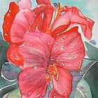Red amaryllis flower watercolor by Naquaiya