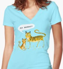 Dear Tiger Women's Fitted V-Neck T-Shirt