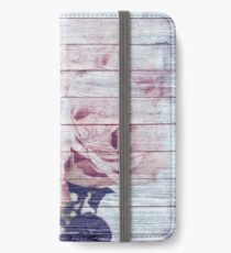 Shabby Chic Dusky Pink Roses On Blue Wood Effect Background iPhone Wallet/Case/Skin