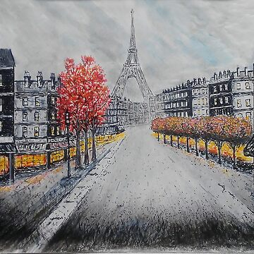 Paris Street Scene mixed media art  by thatstickerguy